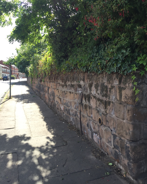 Old stone boundary wall, Hearsall Lane, Earlsdon, west Coventry