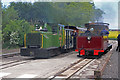SK2406 : Statfold Barn Railway - diesel passes steam by Chris Allen