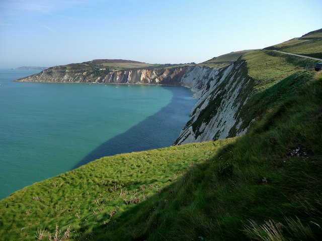 Alum Bay and the white cliffs of West High Down