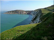 SZ2984 : Alum Bay and the white cliffs of West High Down by Chris Gunns