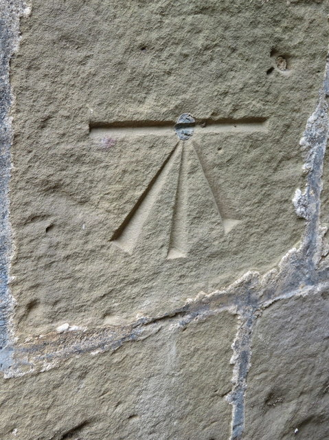 1GL bench mark and bolt on St Mary's church, Scarborough
