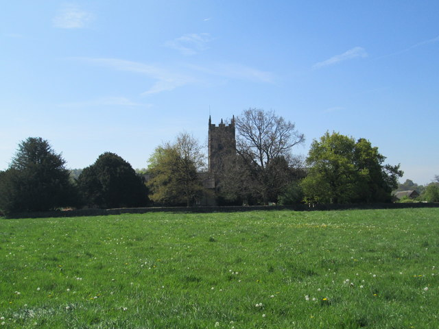 Distant view of the church at Mayfield