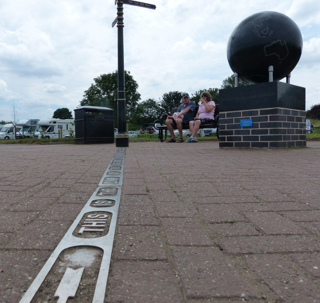 The line of the Greenwich Meridian at Cleethorpes