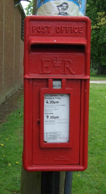 Close up, Elizabeth II postbox on The Green, Little Ellingham