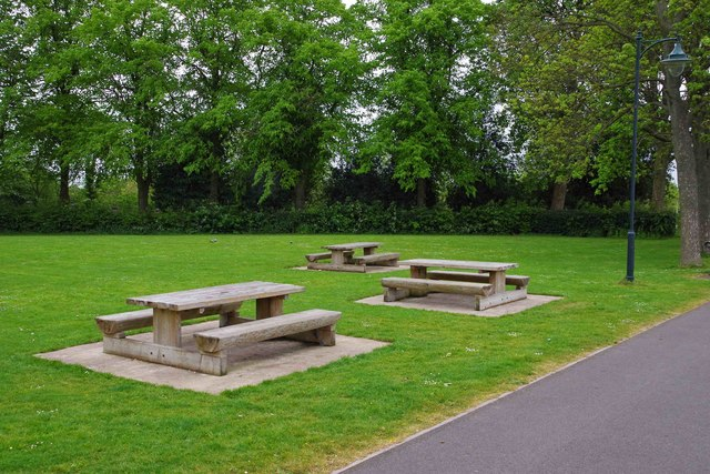 Picnic tables in Dartmouth Park, West Bromwich