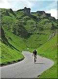 SK1382 : Cycling down Winnats Pass by Neil Theasby