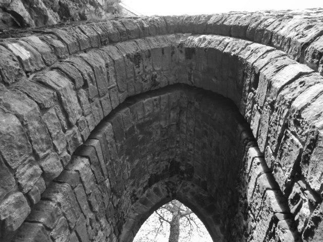 Dumbarton Castle: slot in the Portcullis Arch