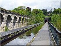 SJ2837 : Chirk aqueduct and railway viaduct by John Lucas