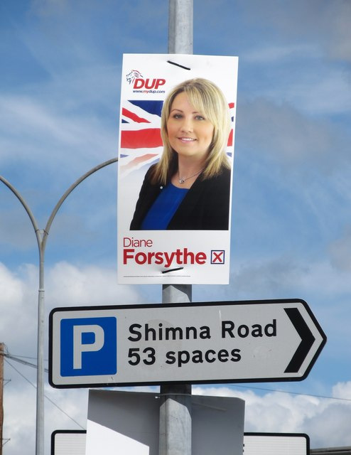 DUP (Democratic Unionist Party) Westminster Election Poster on Shimna Road