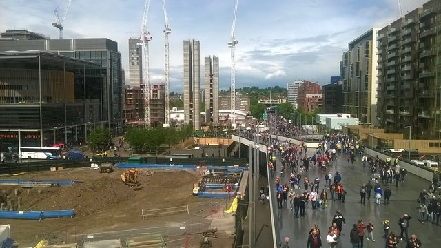Wembley Way: fans approaching the stadium