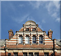"""TQ3088 : Decorative gable, """"Queen's Hotel"""", Crouch End by Julian Osley"""