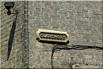 TL4557 : Carved stone street name for Claremont by Tiger