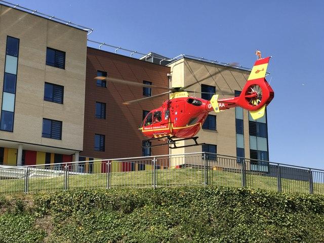 Air ambulance landing at the Royal Stoke University Hospital