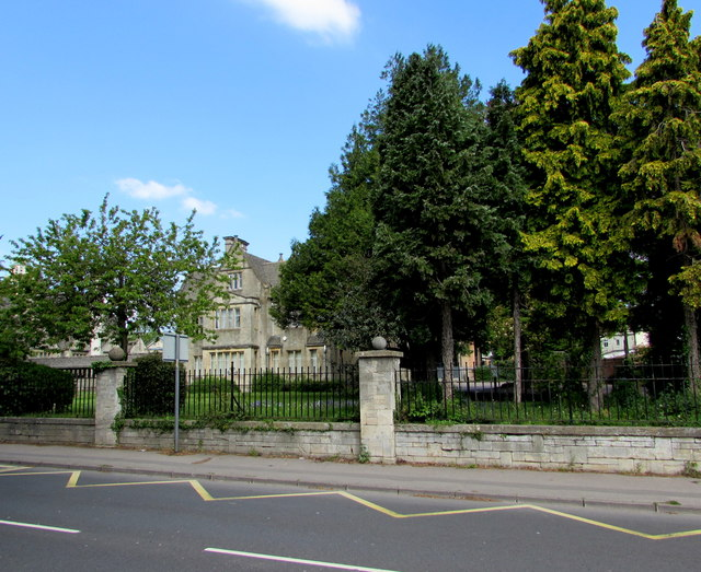 Tree-lined southern perimeter of Marling School, Stroud