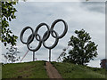 TQ3784 : Olympic Rings, Olympic Park, Stratford by Christine Matthews