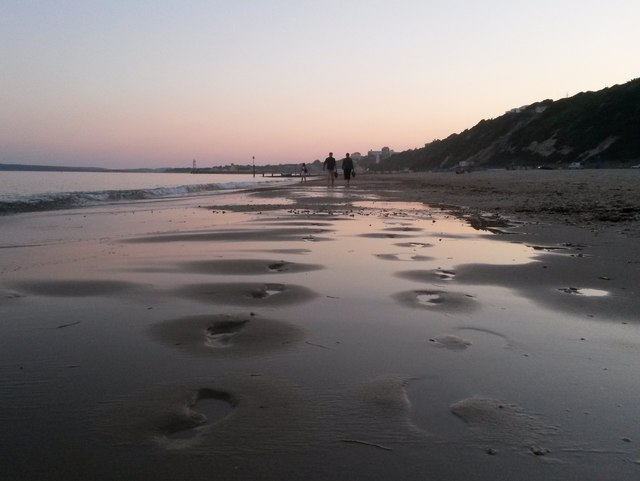 Bournemouth: fresh footprints in the sand