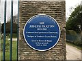 SK2571 : Blue plaque on gatepost at Chatsworth Park by Jonathan Hutchins