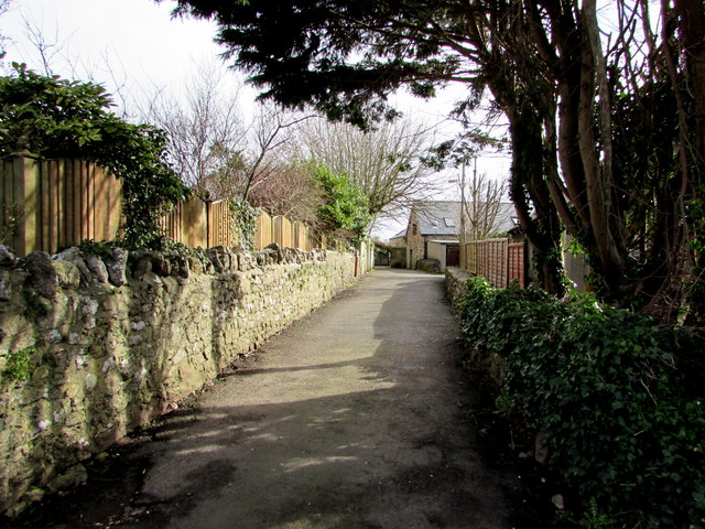 East along Old Village Lane, Nottage, Porthcawl