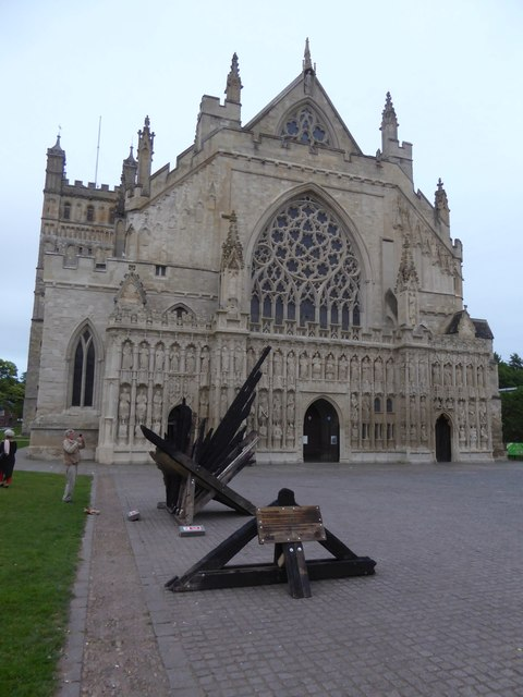 "The sculpture ""Hope and Renewal"" outside Exeter Cathedral"