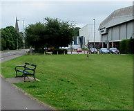 SS9079 : Green bench near Bridgend Bowls Centre by Jaggery