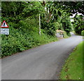SS0698 : Warning sign - No footway for 650 yards, Manorbier by Jaggery