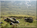 NN0829 : Boulders beside hydro road in Coire Cruachan by Trevor Littlewood