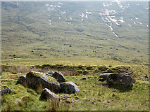NN0829 : Boulders beside hydro road in Coire Cruachan by Trevor Littlewood