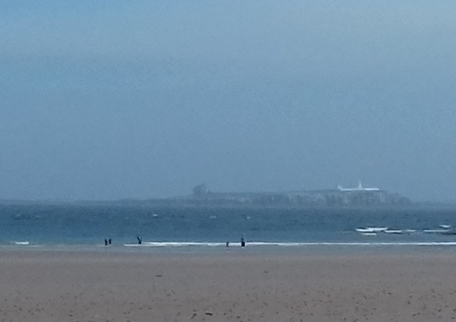 Bamburgh Beach with Inner Farne in distance