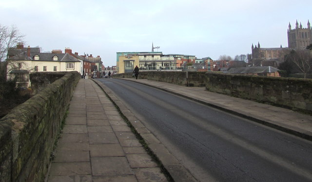 North across Wye Bridge, Hereford