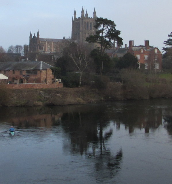 Cathedral and river, Hereford