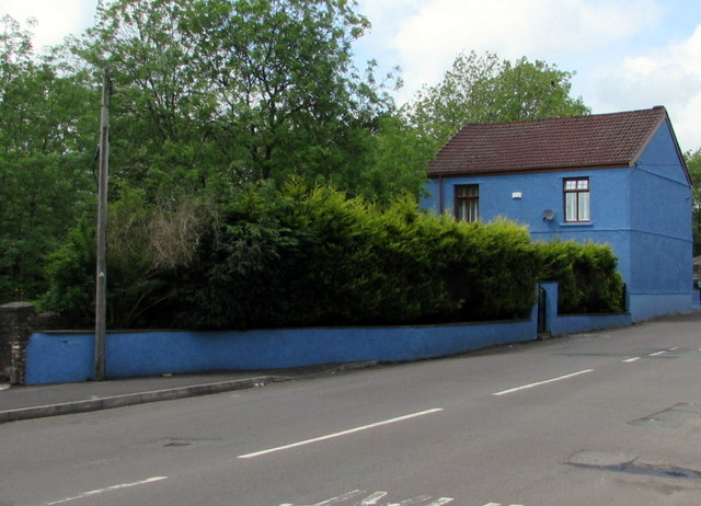 Blue wall and house, Dukestown Road, Tredegar