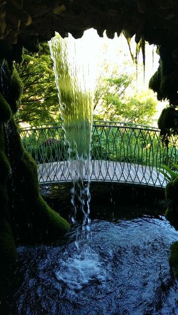 Behind a waterfall, Cricket St Thomas
