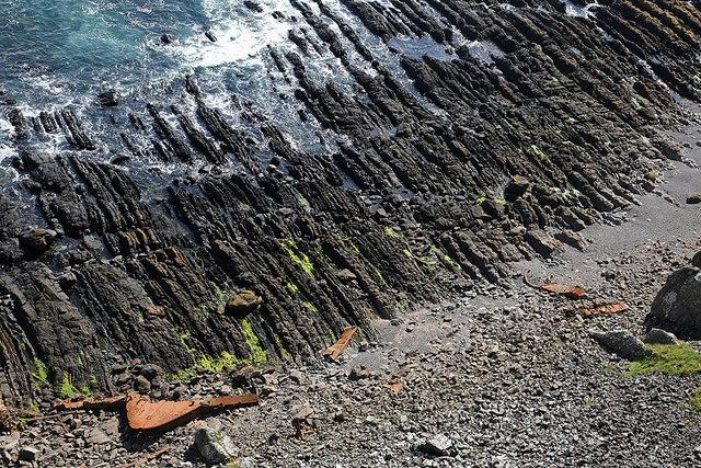 A wave-cut platform below Brander Heugh