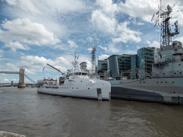 Ship Beside HMS Belfast, London