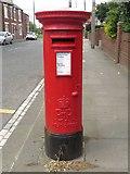 NZ2582 : Post box, Ridge Terrace, Bedlington by Graham Robson