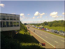 SD5052 : Southbound traffic queue at Lancaster Services, M6 by Elliott Simpson