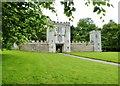 SY2597 : Medieval gatehouse and flank walls,  Shute Barton, Devon by Derek Voller
