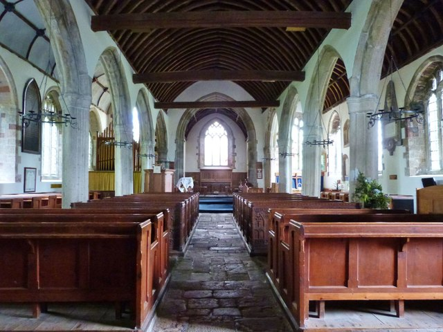 Interior of Holy Trinity church, Drewsteignton, Devon