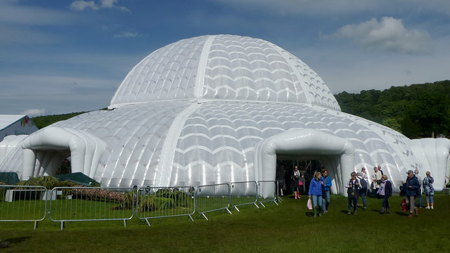 The inflatable glass house at RHS Chatsworth flower show.