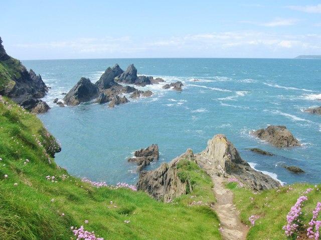 The rocky western shore of Burgh Island