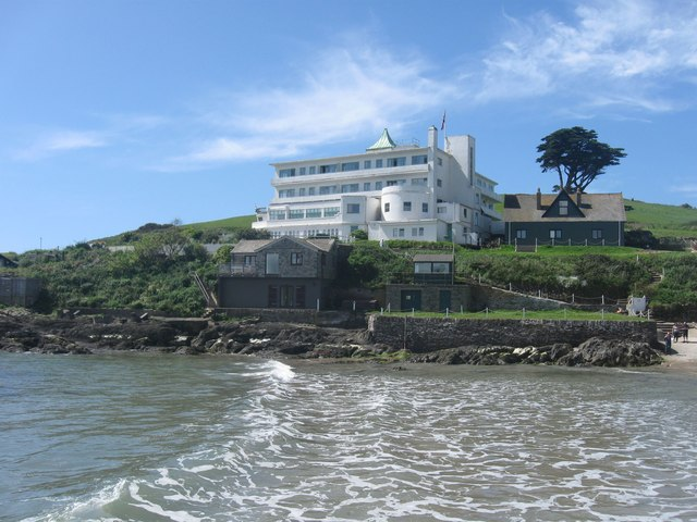 Burgh Island and its famous hotel, Bigbury-on-Sea , Devon. Taken from the Sea Tractor