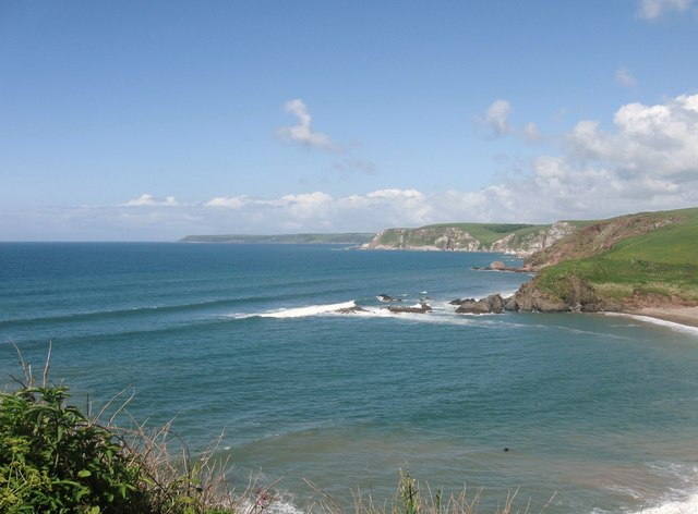 Looking across Challaborough Bay to Beacon Point in the far distance, Devon