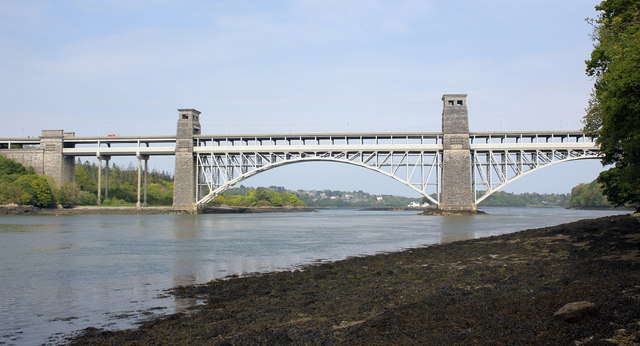 The Menai Strait and Britannia Bridge