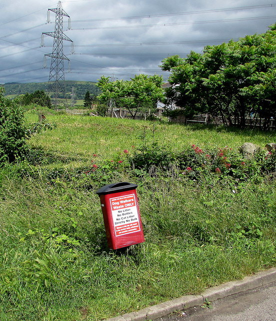 Red bin for dog waste only, The Cutting, Llanfoist
