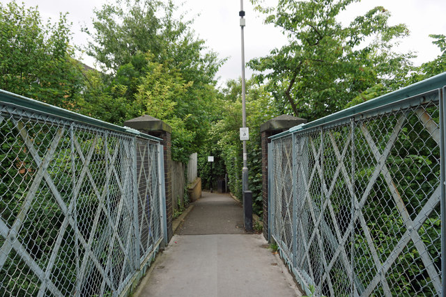 Footpath 97 at the western end of the footbridge