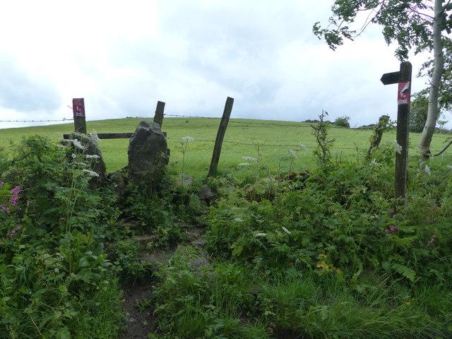 Stile and footpath off Ember Lane  near Bonsall