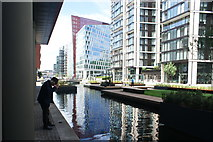 TQ2681 : View of the new Paddington Basin Floating Pocket Park in Merchant Square by Robert Lamb