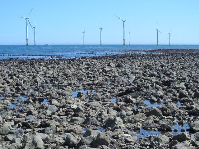 Exposed rocks east of the South Gare Breakwater at low tide (2b)