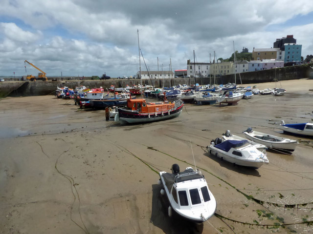 Tenby harbour at low tide