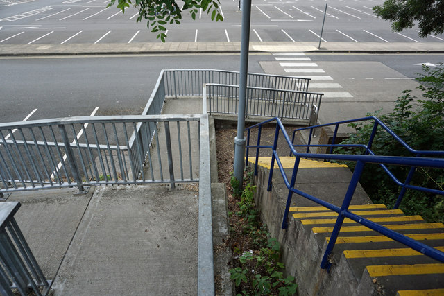 The stairs and ramps leading to Sainsbury's and the car park from footpath 97